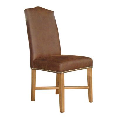 Home Essence Corona Queen Anne Chair in Antique Brown Faux Leather (Set of 2) - Pine
