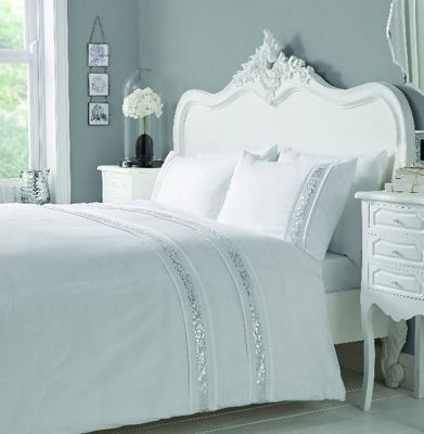 Serene Glance White & Silver King Duvet Cover Set