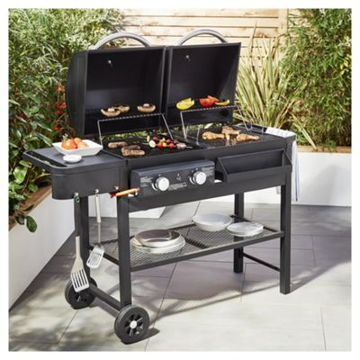 Tesco Dual Fuel Gas And Charcoal Bbq