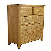 Nebraska Modern Oak Chest of Drawers / 2 Over 3 Chest