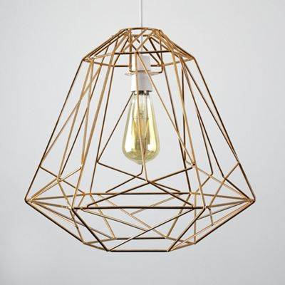 MiniSun Okko Geometric 40cm Non Electric Basket Shade - Copper