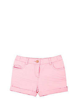 F&F Neon Twill Turn-Up Shorts - Neon Pink
