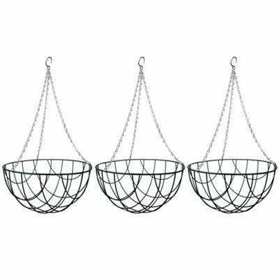 3 x 12-inch Green Metal Hanging Baskets