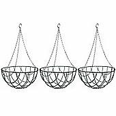 3 x 12-inch Green Metal Hanging Baskets
