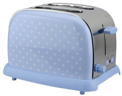 KitchenOriginals by Kalorik Blue Polka Dot Two Slice Toaster