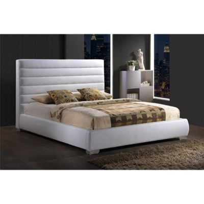 White Padded Headboard Faux Leather Bed Frame - Double 4ft 6