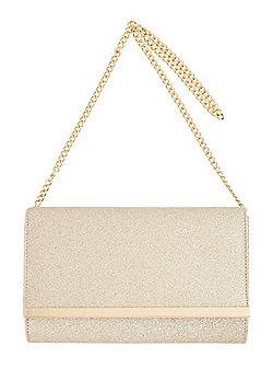 F&F Glitter Clutch Bag Gold One Size