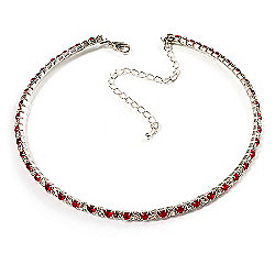 Thin Swarovski Crystal Choker Necklace (Clear & Hot Red)