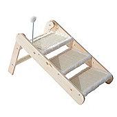 PawHut Folding 3-in-1 Wooden Pet Ramp & Stair Sisal Cat Scratcher Step Ladder w/ Toy