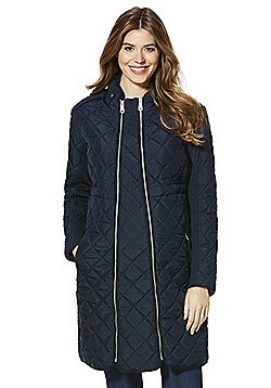 Mamalicious Quilted Extendable Maternity Jacket - Navy