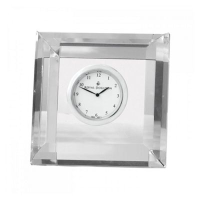 Royal Doulton Radiance Square Faceted Clock 7.4cm by 13cm