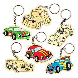 Racing Car Wooden Keyrings for Children to Design & Colour-in and Give as Creative Father's Day Gift (Pack of 6)
