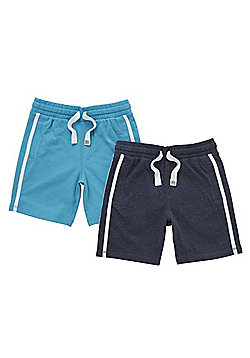 F&F 2 Pack of Side Stripe Drawstring Jersey Shorts - Blue