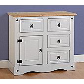 Corona 1 Door 4 Drawer Sideboard in Grey/Distressed Waxed Pine