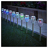 Tesco 10 Colour Changing Solar Stainless Steel Stake Lights