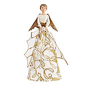 Gold & Cream Holly Angel Christmas Tree Topper - Small