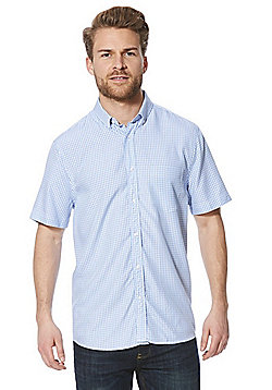 F&F Checked Soft Touch Short Sleeve Shirt - Blue