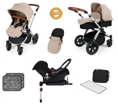 Ickle Bubba Stomp V3 AIO Isofix Tavel System with Additional Stroller Bag - Sand (Silver Chassis)