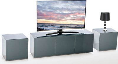 Frank Olsen Black INTEL1100GRY TV Cabinet and 2 x INTELLAMP-GRY Lamp Tables