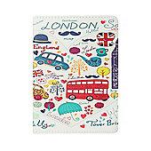 iPad Mini 1 / 2 / 3 Love London Sketched PU Leather Smart Cover Case - White