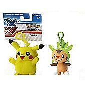 Pokemon Plush Keychain Bundle - Pikachu & Chespin