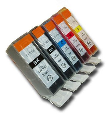 5 Chipped Compatible Canon PGI-525 & CLI-526 Ink Cartridges