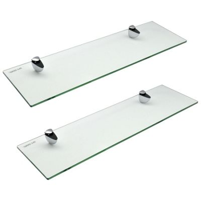 Harbour Housewares Glass Bathroom Shelf With Chrome Fixings - Tempered Glass - 50cm - Pack Of 2