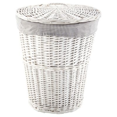 buy tesco wicker laundry bin grey stripe fabric lined white from our laundry baskets bins. Black Bedroom Furniture Sets. Home Design Ideas