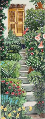 YH Arts Ceramic Wall Art, Garden Steps Design 1 6 x 16