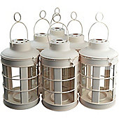 Large Cream Metal Candle Tealight Lantern / Holder - Vintage Design - Pack of 6