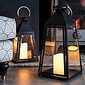 Large Charcoal Trapeze Battery LED Candle Lantern