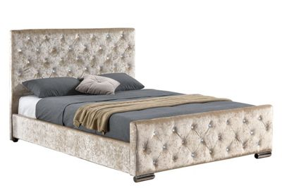 Buy Beaumont Gold Champagne Crushed Velvet Fabric Double ...