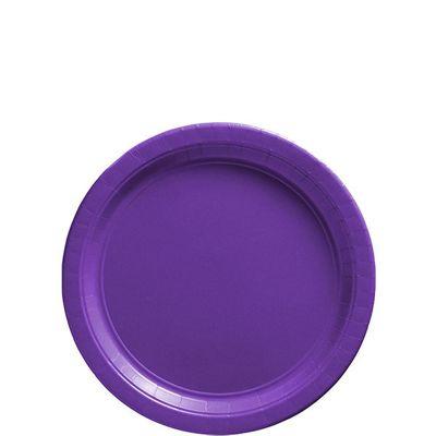 Purple Dessert Plates - 17cm Paper Party Plates - 50 Pack