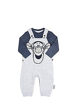 Disney Tigger Jersey Dungarees and Bodysuit Set - Grey