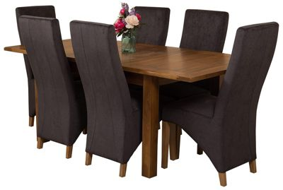Cotswold Rustic Extending Solid Oak Dining Set Table and 6 Black Fabric Chairs