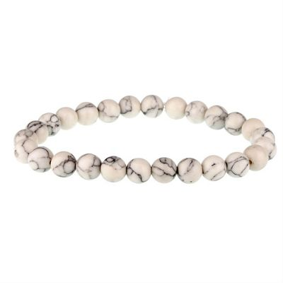 Urban Male White and Black Lava Stone Men's Beaded Bracelet 8mm