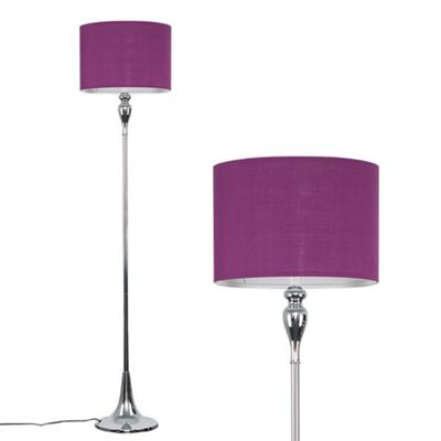 Faulkner 125cm Spindle Floor Lamp - Chrome & Purple