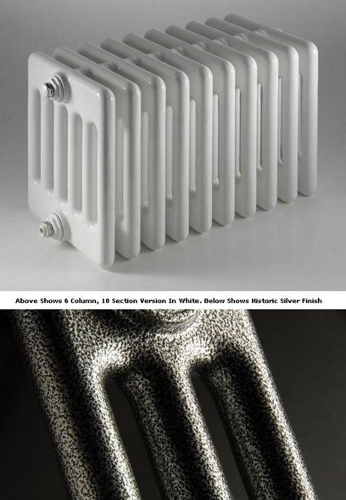 DQ Heating Peta 4 Column Designer Radiator - 592mm High x 855mm Wide - 19 Sections - Historic Silver