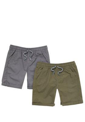 F&F 2 Pack of Ripstop Drawstring Shorts Khaki/Grey 5-6 years