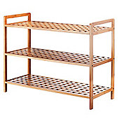 VonHaus 3-Tier Slimline Bamboo Shoe Rack/Shelf Organiser
