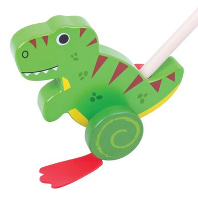 Bigjigs Toys Wooden T-Rex Push Along - Walking Toys for Babies and Toddlers