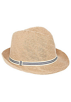 F&F Foldable Thermo Straw Trilby Hat - Stone