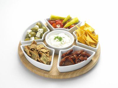occasion bamboo lazy susan with ceramic dishes