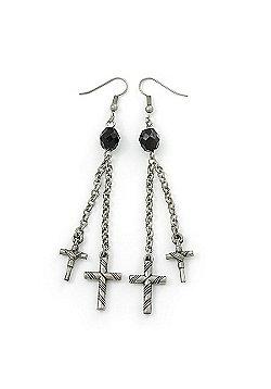 Long Vintage Inspired Chain Cross Dangle Earrings In Antique Silver Metal - 95mm Length