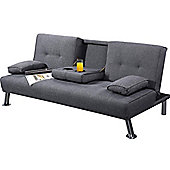 New York Grey Fabric 3 Seater Small Sofa Bed