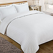 Brentfords Satin Stripe Duvet Cover with Pillow Case Bedding Set, White - White