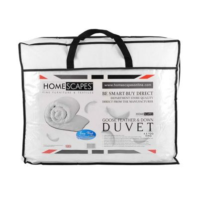 Homescapes Goose Feather and Down 4.5 Tog King Size Summer Duvet Luxury Quilt