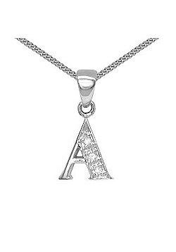 Jewelco London 9 Carat White Gold Elegant Diamond-Set Pendant on an 18 inch Pendant Chain Necklace - Inital A
