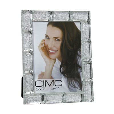 Silver Crystal Block Photo Frame 5in x 7in