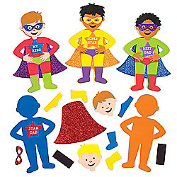 Super Dad' Mix & Match Magnet Kits for Children to Design Make and Give as Father's Day Gift - Creative Craft Set for Kids (Pack of 6)